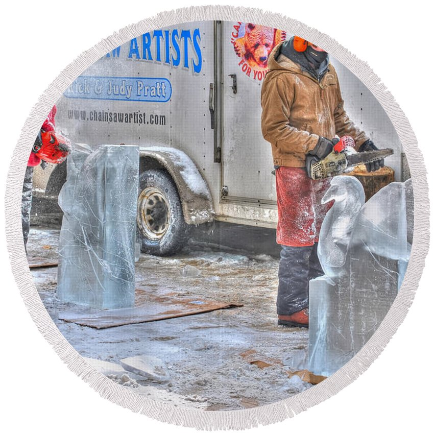 Round Beach Towel featuring the photograph Ice Sculptures Coming About by Michael Frank Jr