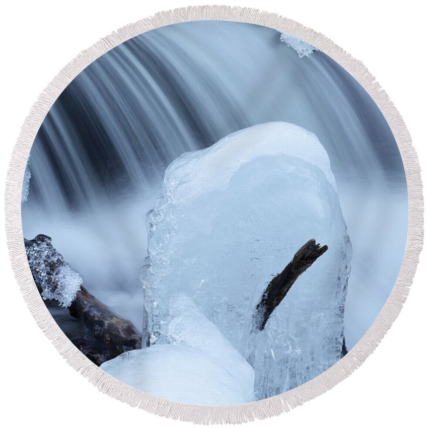 Rapid Round Beach Towel featuring the photograph Ice Tombstone Frozen In Time by John Stephens