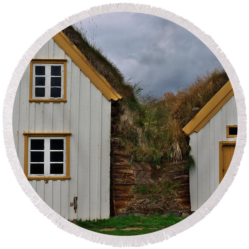 Iceland Round Beach Towel featuring the photograph Icelandic Turf Houses by Ivan Slosar