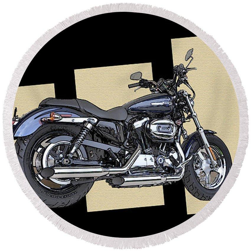 Iconic Harley Davidson Round Beach Towel featuring the photograph Iconic Harley Davidson by Bill Cannon