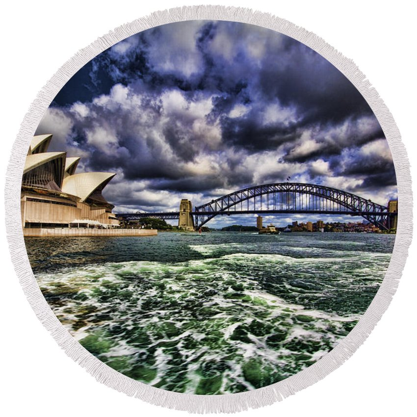 Sydney Harbor Bridge Round Beach Towel featuring the photograph Iconic Landmarks by Douglas Barnard