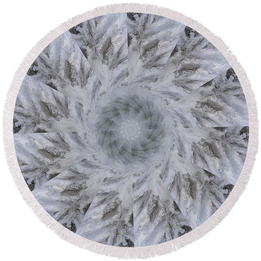 Mandala Round Beach Towel featuring the digital art Icy Mandala 2 by Rhonda Barrett