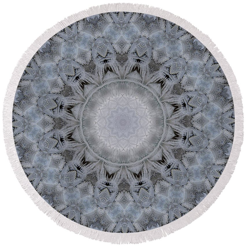 Mandala Round Beach Towel featuring the digital art Icy Mandala 4 by Rhonda Barrett