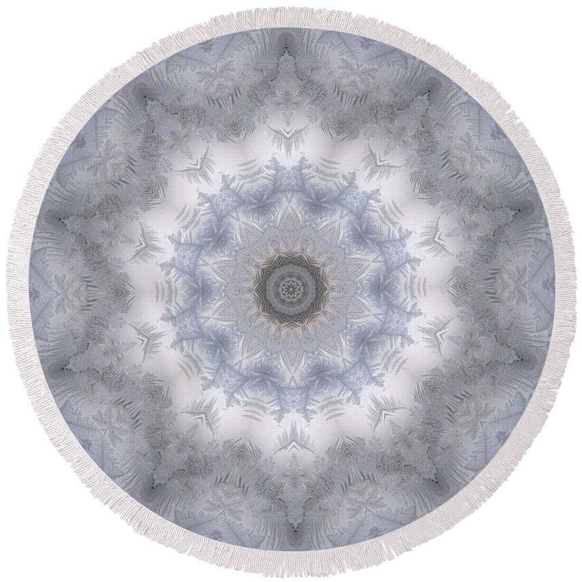 Mandala Round Beach Towel featuring the digital art Icy Mandala 5 by Rhonda Barrett
