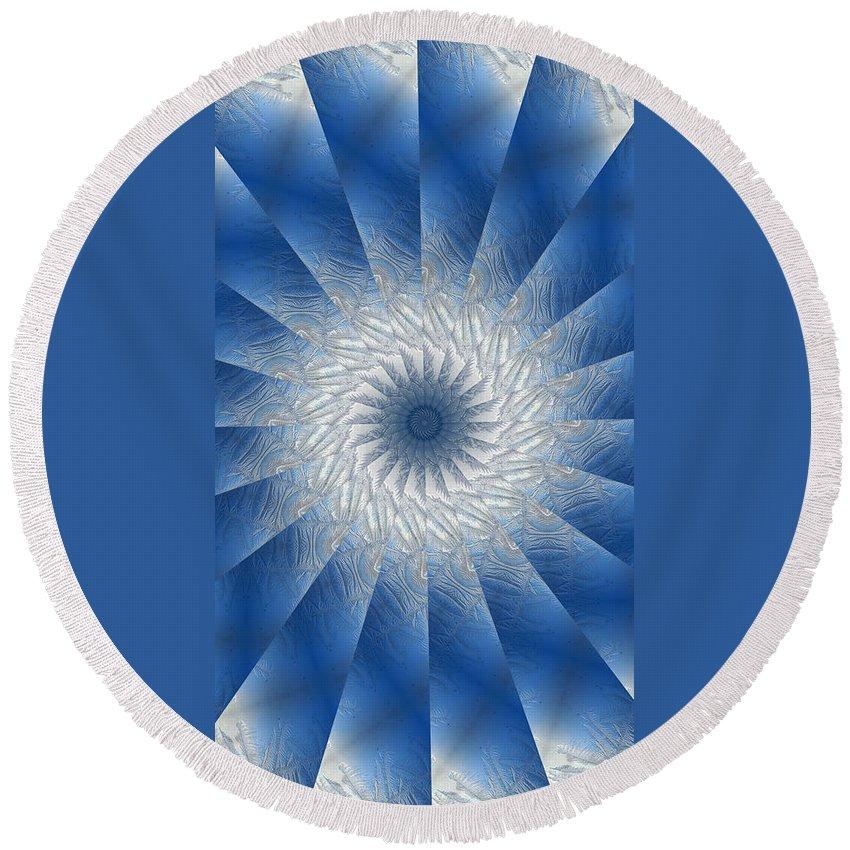 Mandala Round Beach Towel featuring the digital art Icy Mandala 7 by Rhonda Barrett