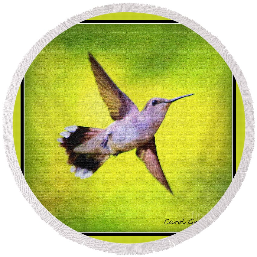 Hummingbird Round Beach Towel featuring the photograph If Wishes Had Wings by Carol Groenen