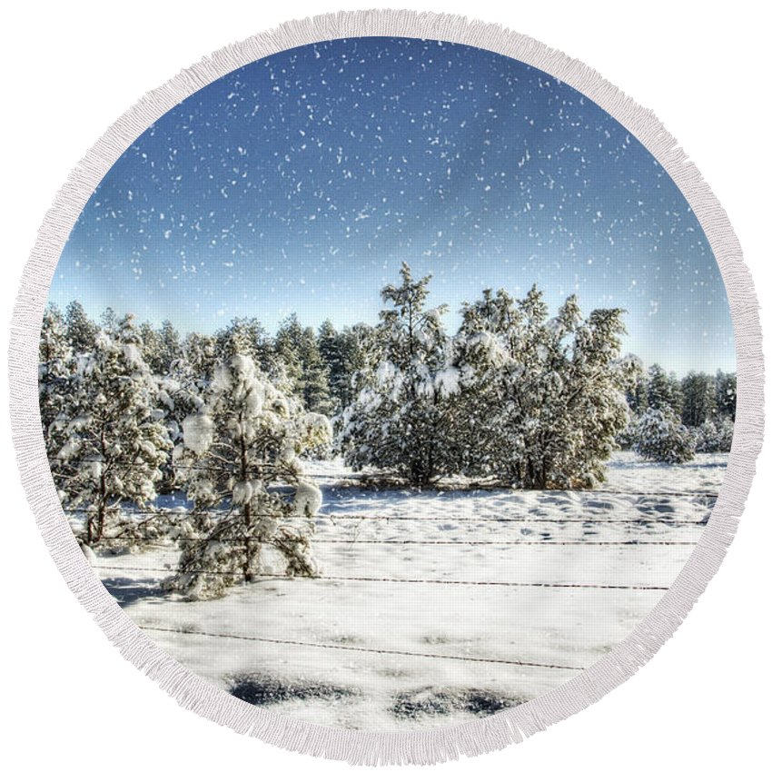 Winter Round Beach Towel featuring the photograph I'm Dreaming Of A White Christmas by Saija Lehtonen