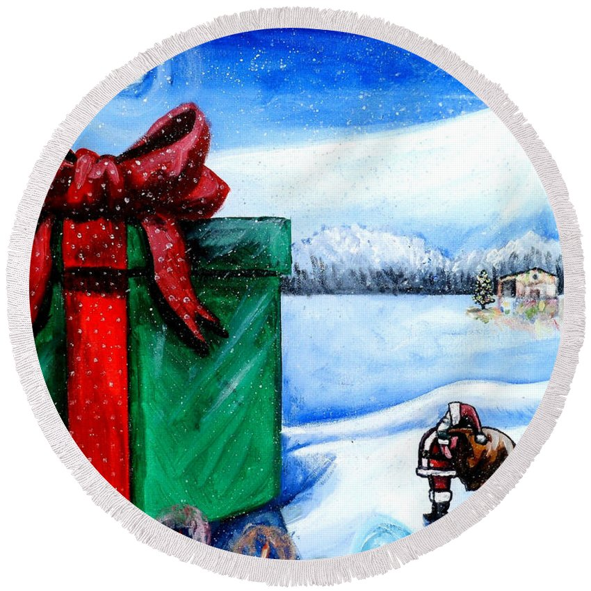 Christmas Round Beach Towel featuring the painting I'm Going To Need A Bigger Sleigh by Shana Rowe Jackson