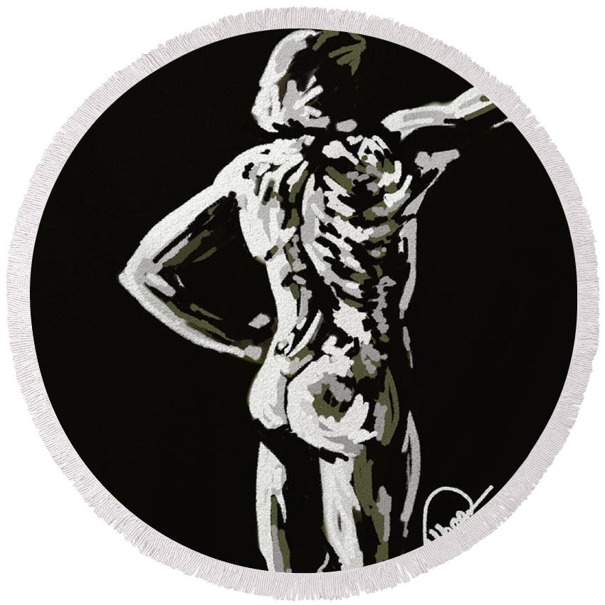 Figure Round Beach Towel featuring the painting Imaginative Figure Drawing by Alban Dizdari