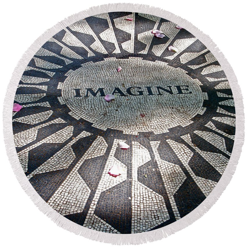 Imagine Tile Beatles Central Park Rose Petals Round Beach Towel featuring the photograph Imagine by Alice Gipson