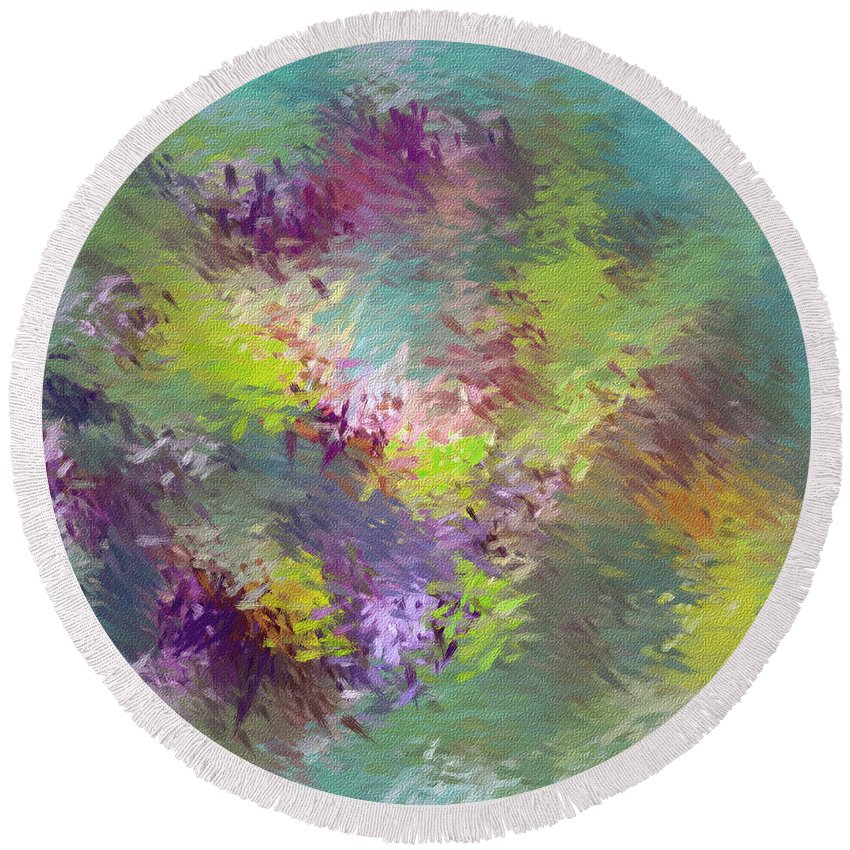Abstarct Round Beach Towel featuring the digital art Impressionistic Abstract by Deborah Benoit