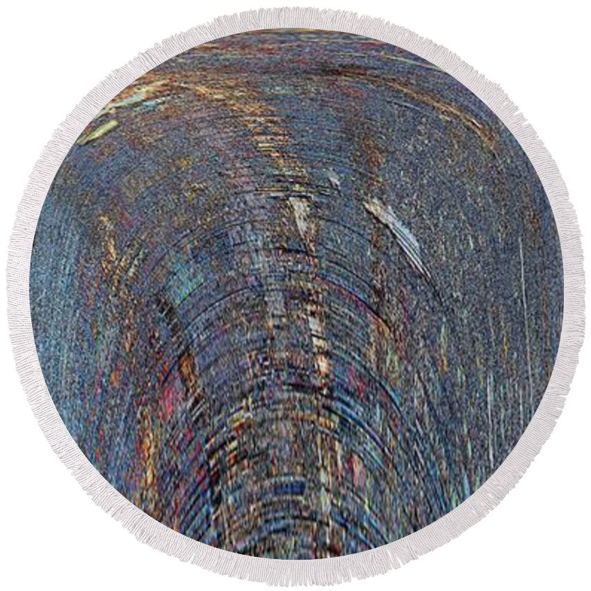 Abstract Round Beach Towel featuring the digital art Impulsive Reflexive Outflow by Tim Allen