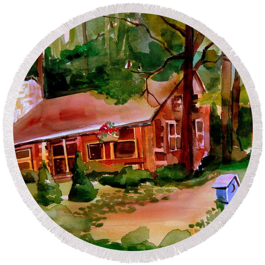 Cabin Round Beach Towel featuring the painting In A Cottage In The Woods by Mindy Newman