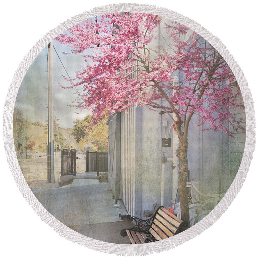 Bench Round Beach Towel featuring the photograph In A Small Town by Laurie Search