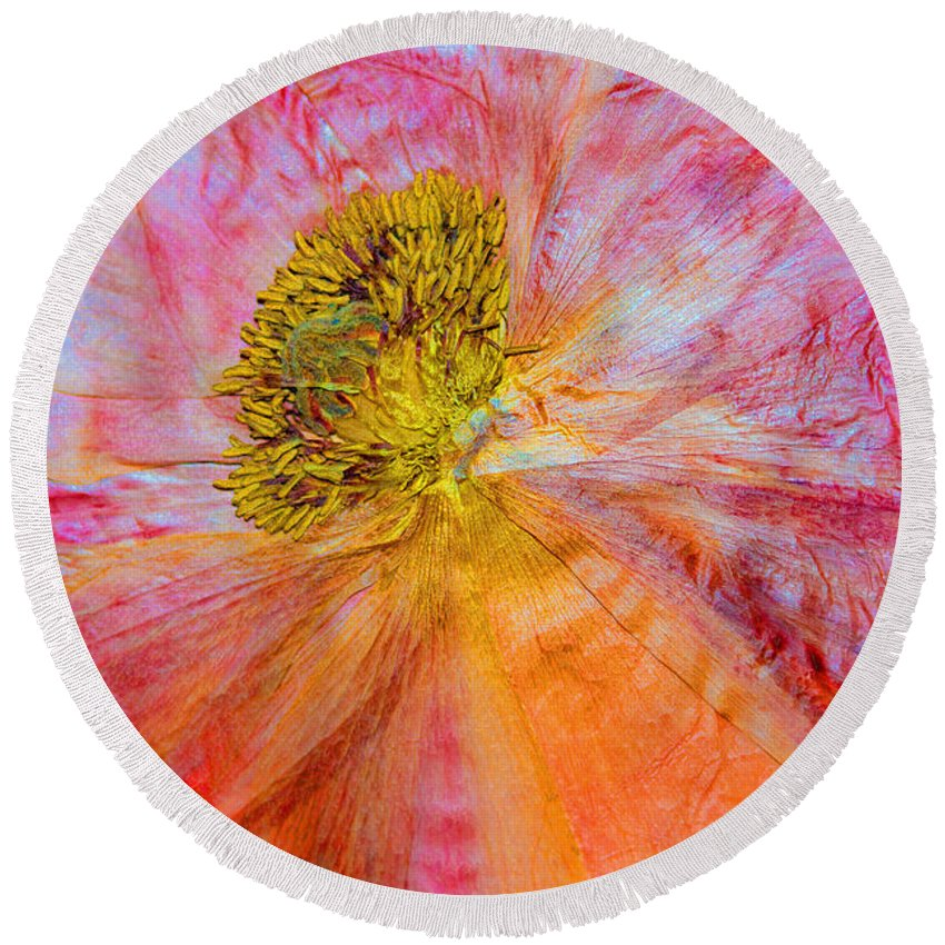 Dried Poppy Round Beach Towel featuring the mixed media In Another Light by Marie Jamieson