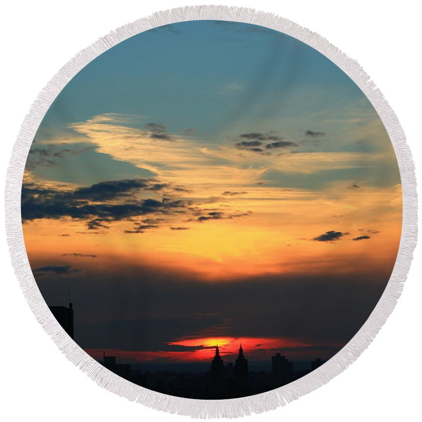 Sunset Round Beach Towel featuring the photograph In The Clouds by Catie Canetti