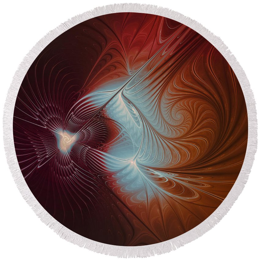Fractal Round Beach Towel featuring the digital art In The Distance by Jutta Maria Pusl