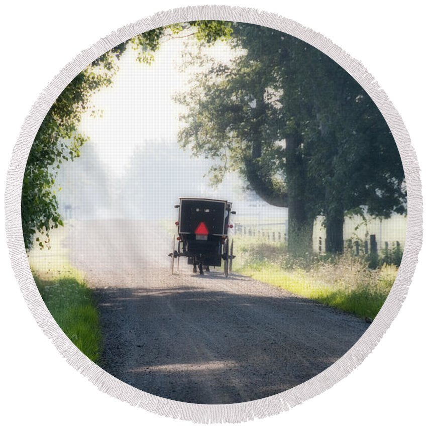 Amish Round Beach Towel featuring the photograph In The Heat Of The Day by David Arment