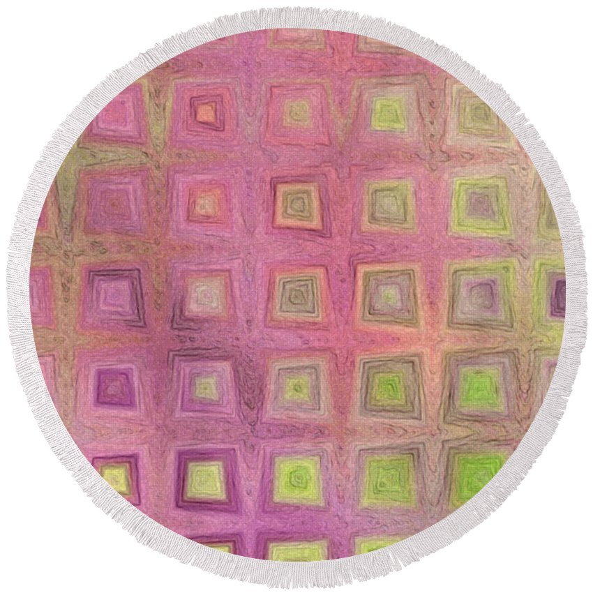 Abstract Round Beach Towel featuring the digital art In The Pink With Squarish Squares by Debbie Portwood