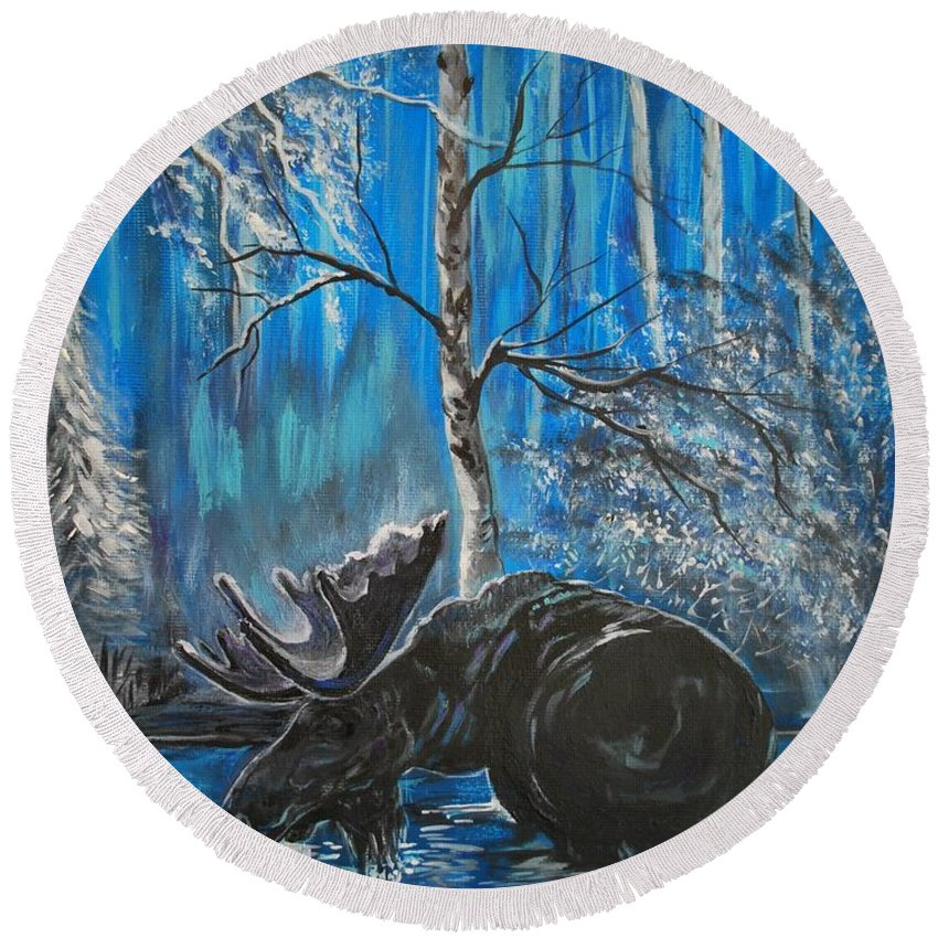 Moose Round Beach Towel featuring the painting In The Still Of The Night Series 1 by Leslie Allen