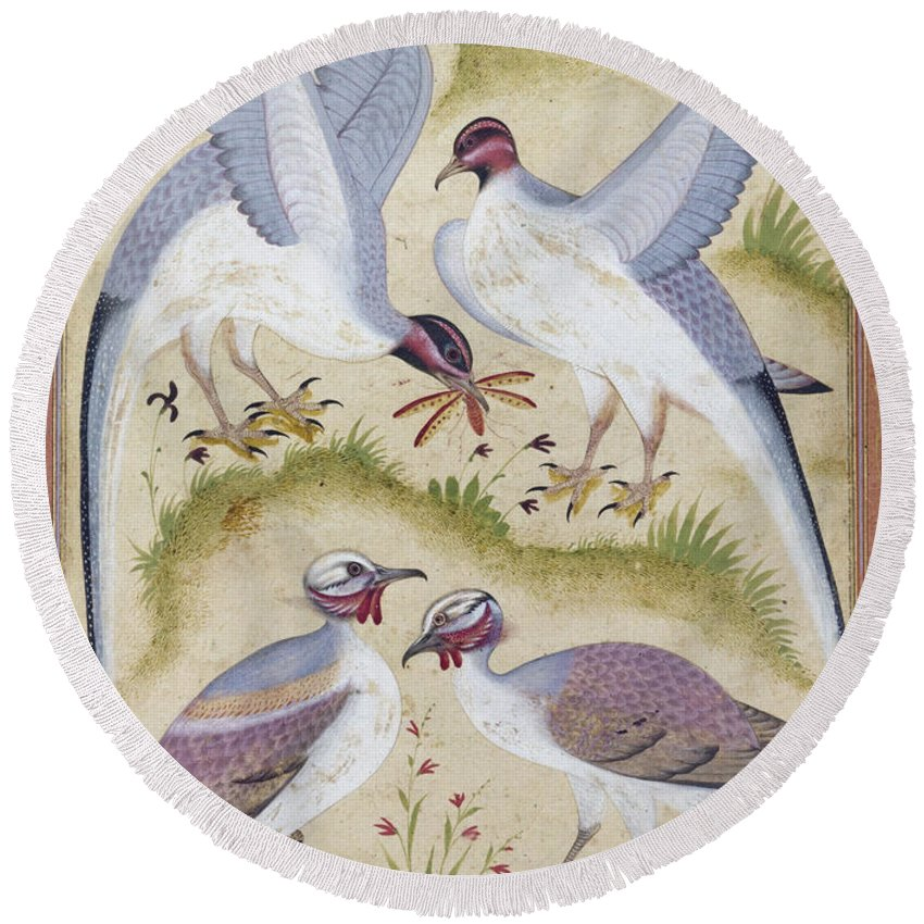 16th Century Round Beach Towel featuring the photograph India: Pheasants by Granger