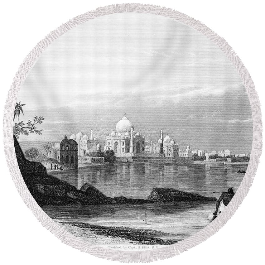 1860 Round Beach Towel featuring the photograph India: Taj Mahal, C1860 by Granger