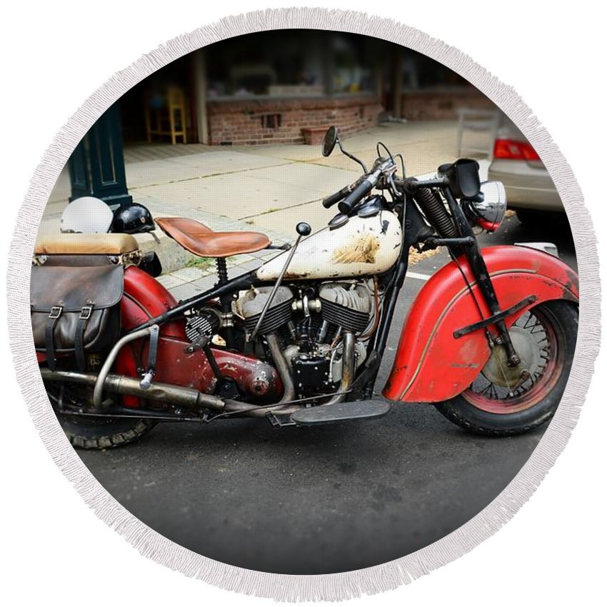Paul Ward Round Beach Towel featuring the photograph Indian Chief Motorcycle Rare by Paul Ward