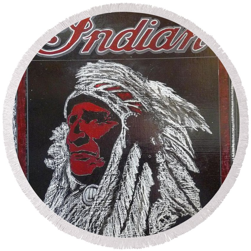 Indian Round Beach Towel featuring the painting Indian Motorcycles by Richard Le Page
