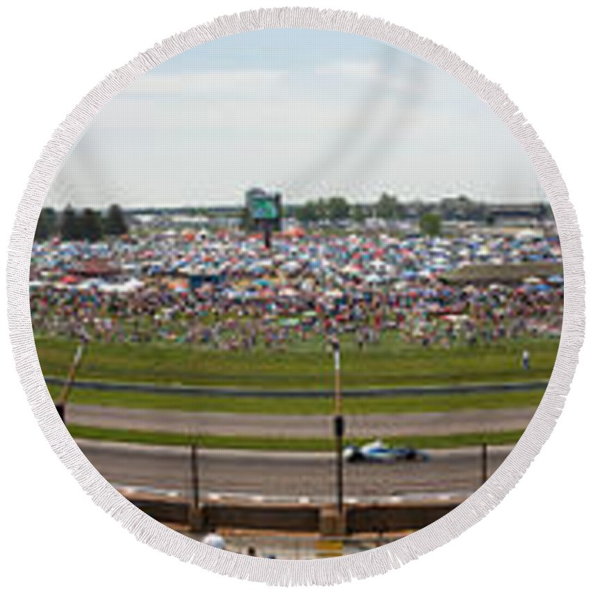 500 Round Beach Towel featuring the photograph Indianapolis Race Track by Semmick Photo