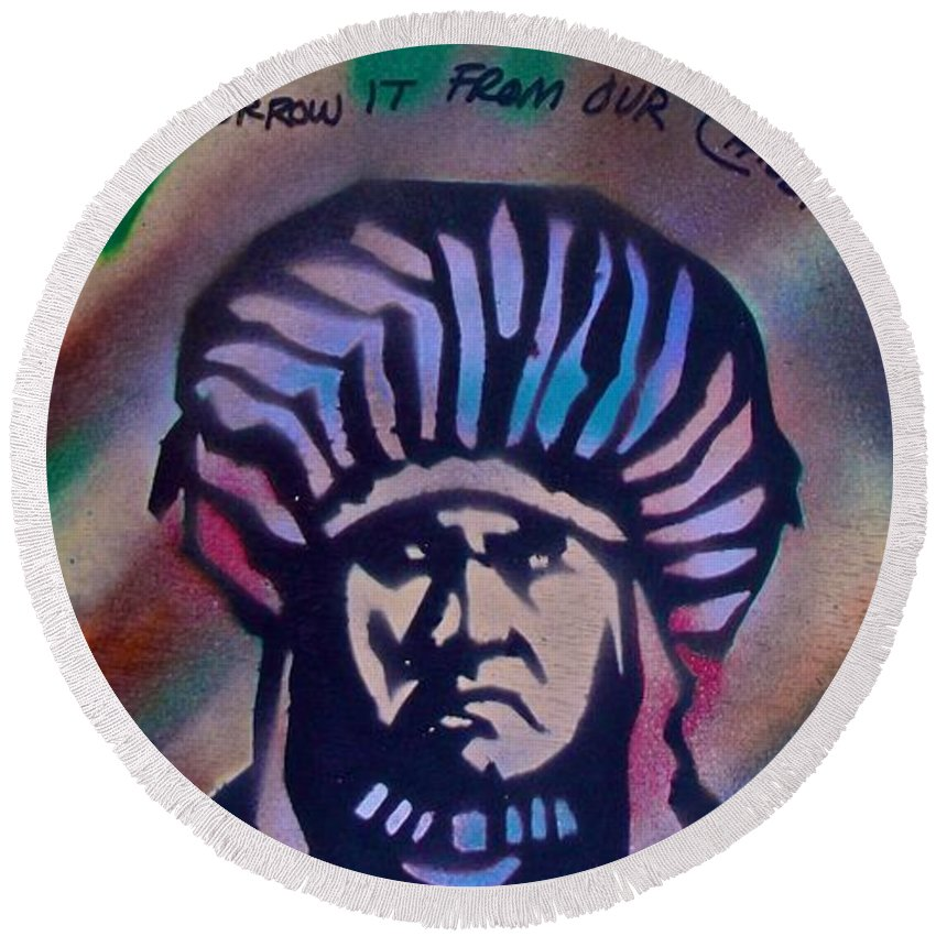 Indian Round Beach Towel featuring the painting Indigenous Motto Earth Tones by Tony B Conscious