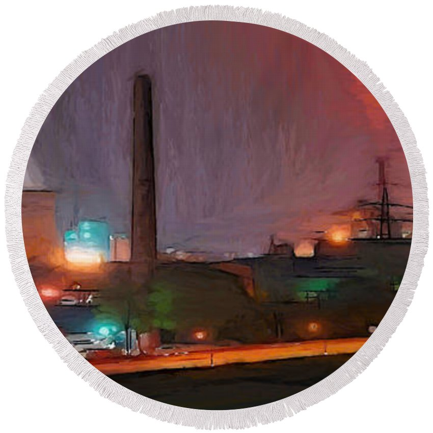Urban Industry Industrial Light Lights Atomic Nuclear Waste Chimney Electric Street Round Beach Towel featuring the painting Industrial Lights by Steve K