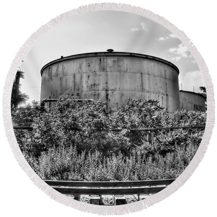 Railroad Round Beach Towel featuring the photograph Industrial Tank In Black And White by Tammy Wetzel