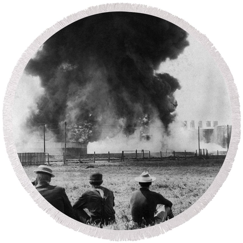 1902 Round Beach Towel featuring the photograph Industry: Oil Fire, C1902 by Granger