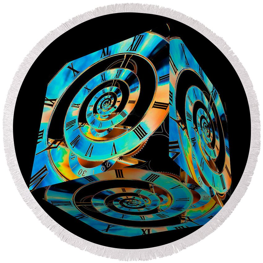 Clock Round Beach Towel featuring the photograph Infinity Time Cube On Black by Steve Purnell