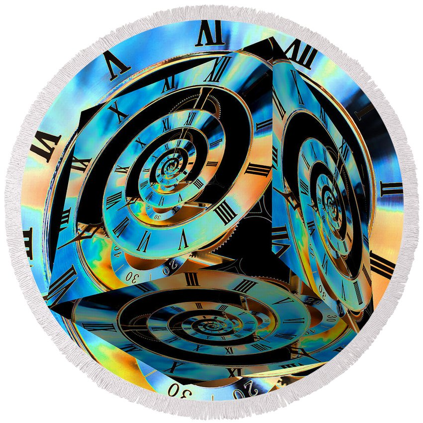 Clock Round Beach Towel featuring the photograph Infinity Time Cube by Steve Purnell