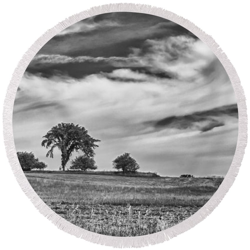Clouds Round Beach Towel featuring the photograph Innisfree Tree by Guy Whiteley