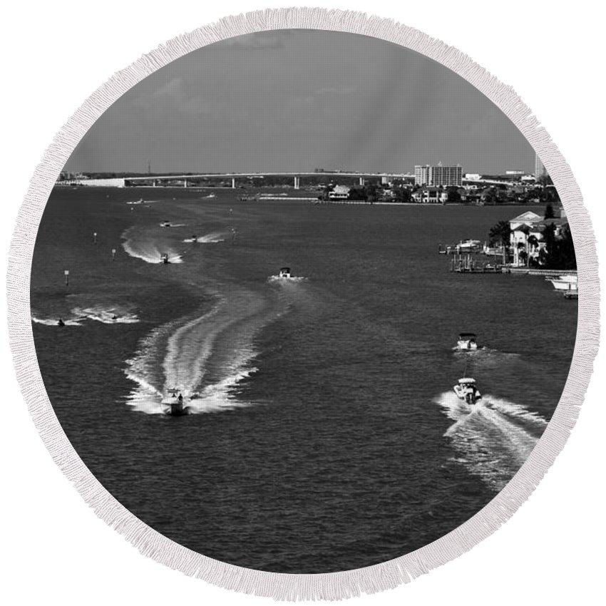 Intercoastal Waterway Round Beach Towel featuring the photograph Intercoastal by David Lee Thompson