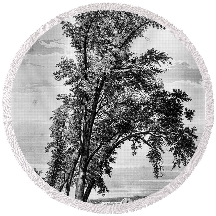 1855 Round Beach Towel featuring the photograph Iowa: Council Bluffs, 1855 by Granger