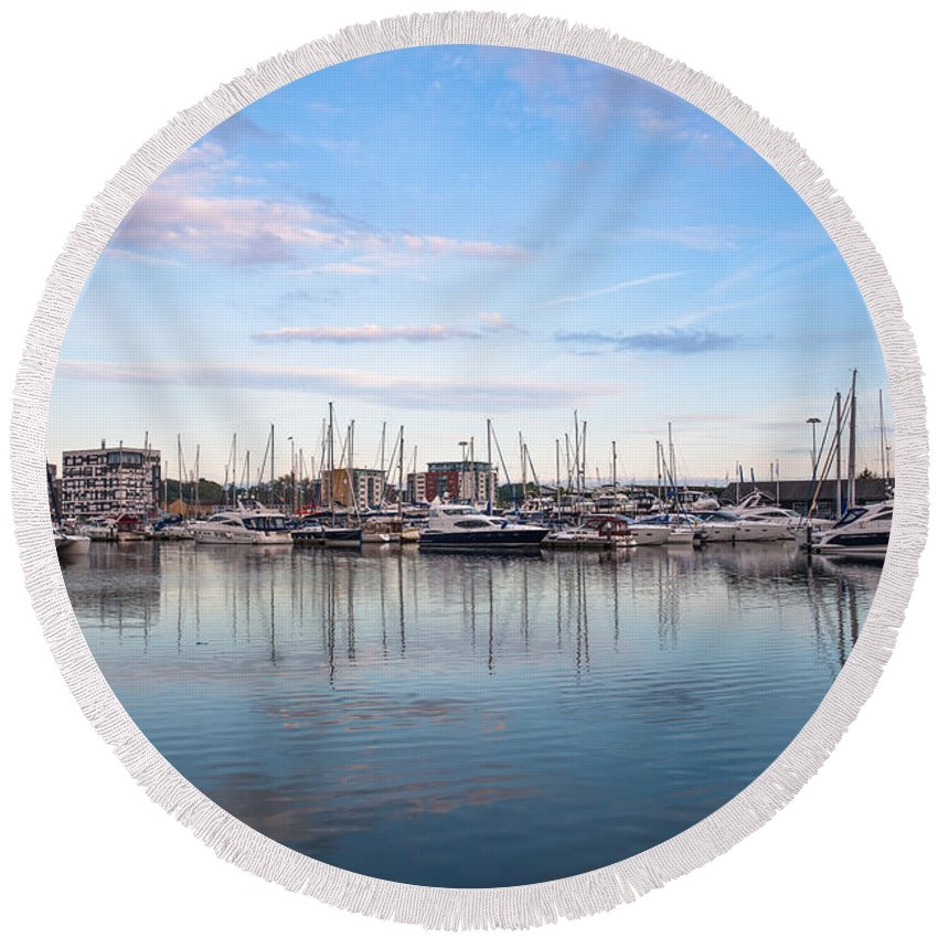 Scenic Round Beach Towel featuring the photograph Ipswich Marina Dusk by Andrew Michael