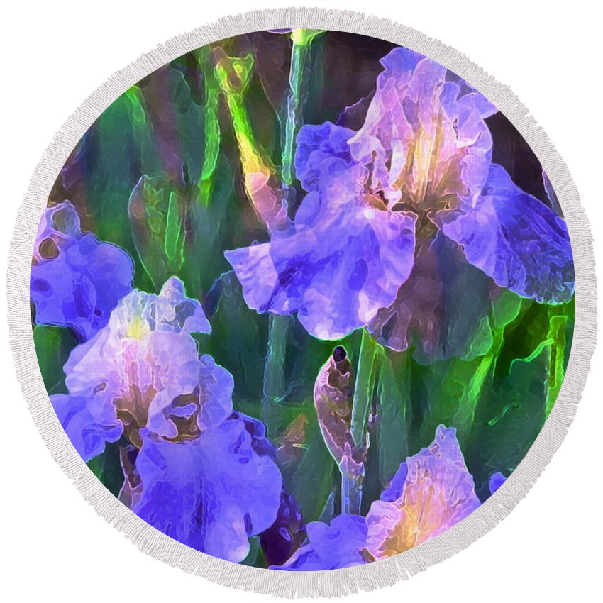 Floral Round Beach Towel featuring the photograph Iris 51 by Pamela Cooper