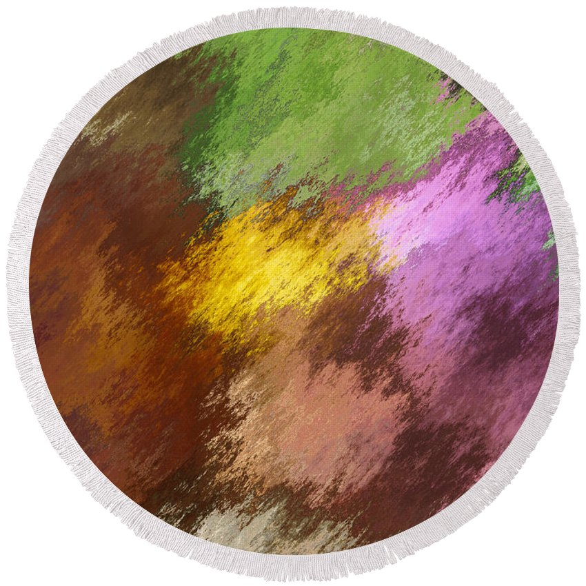 Abstract Round Beach Towel featuring the digital art Iris Abstract II by Debbie Portwood