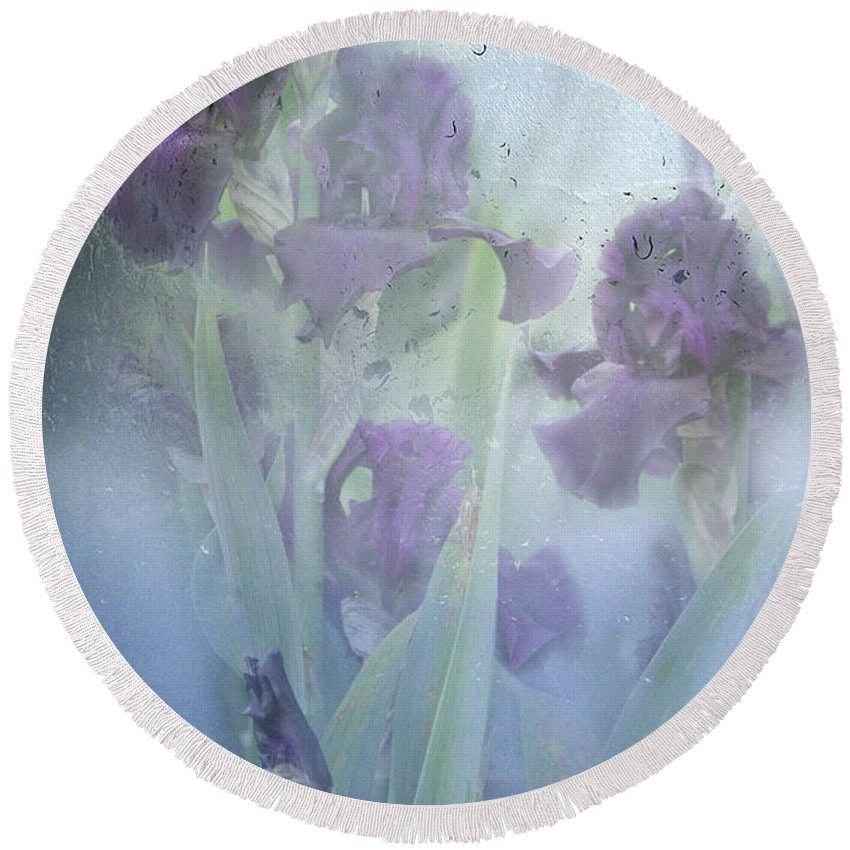 Iris Round Beach Towel featuring the photograph Iris In The Spring Rain by Diane Schuster