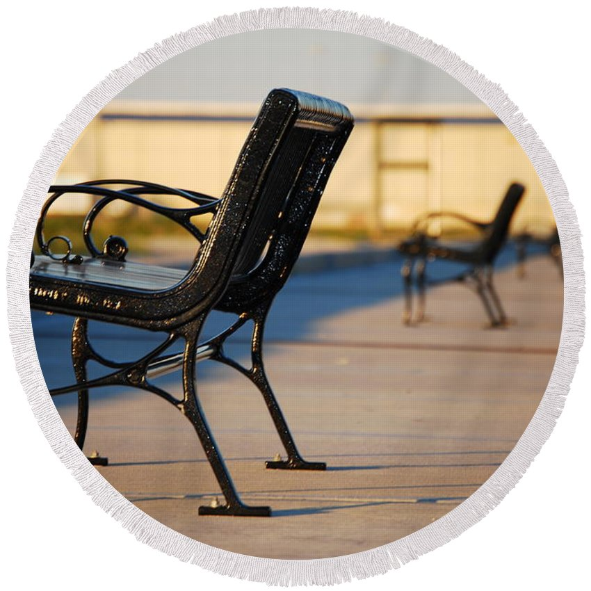 Iron Round Beach Towel featuring the photograph Iron Bench by Beth Gates-Sully