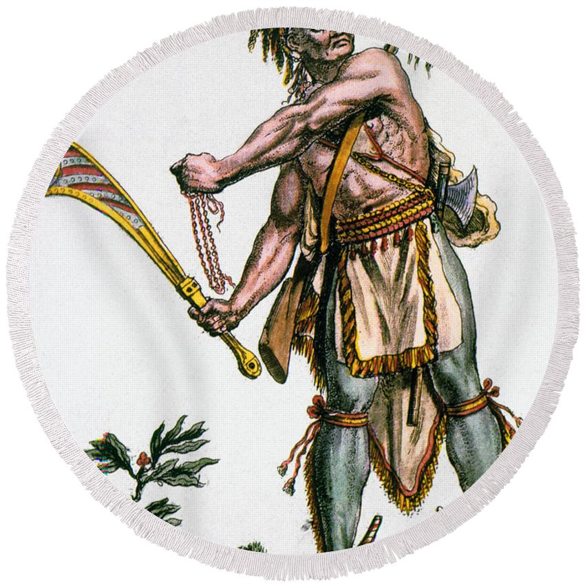 1787 Round Beach Towel featuring the photograph Iroquois Warrior by Granger