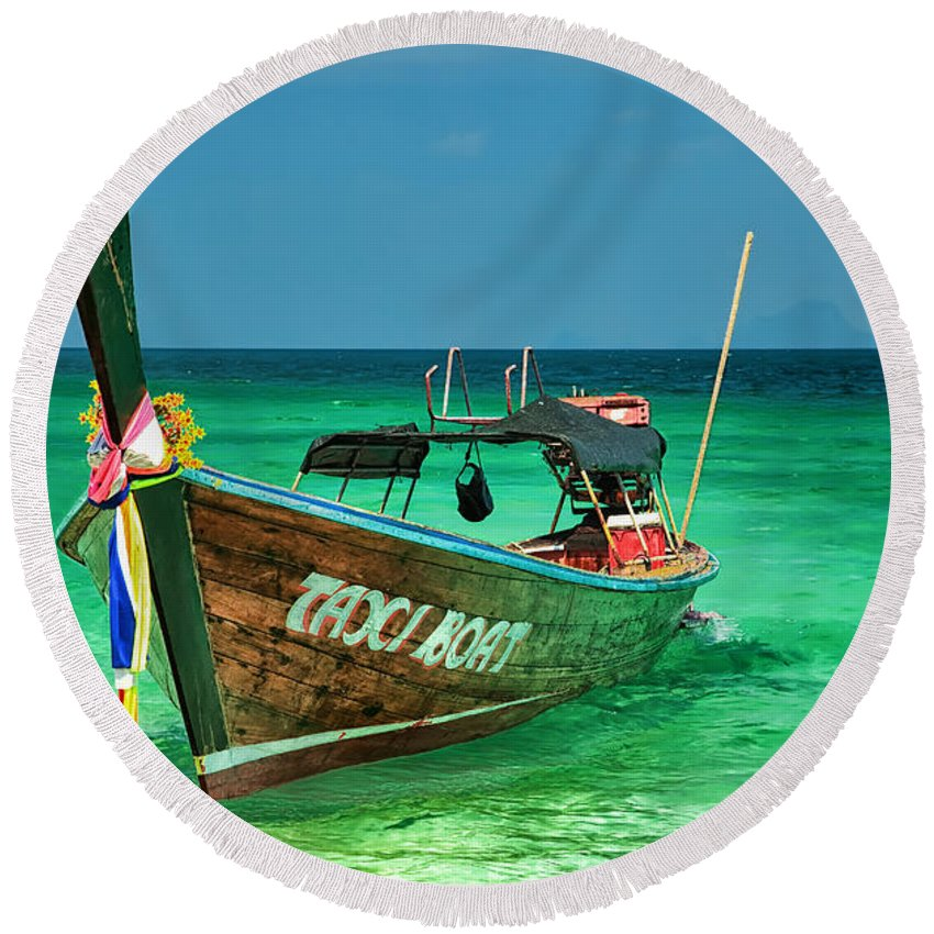 Asia Round Beach Towel featuring the photograph Island Taxi by Adrian Evans