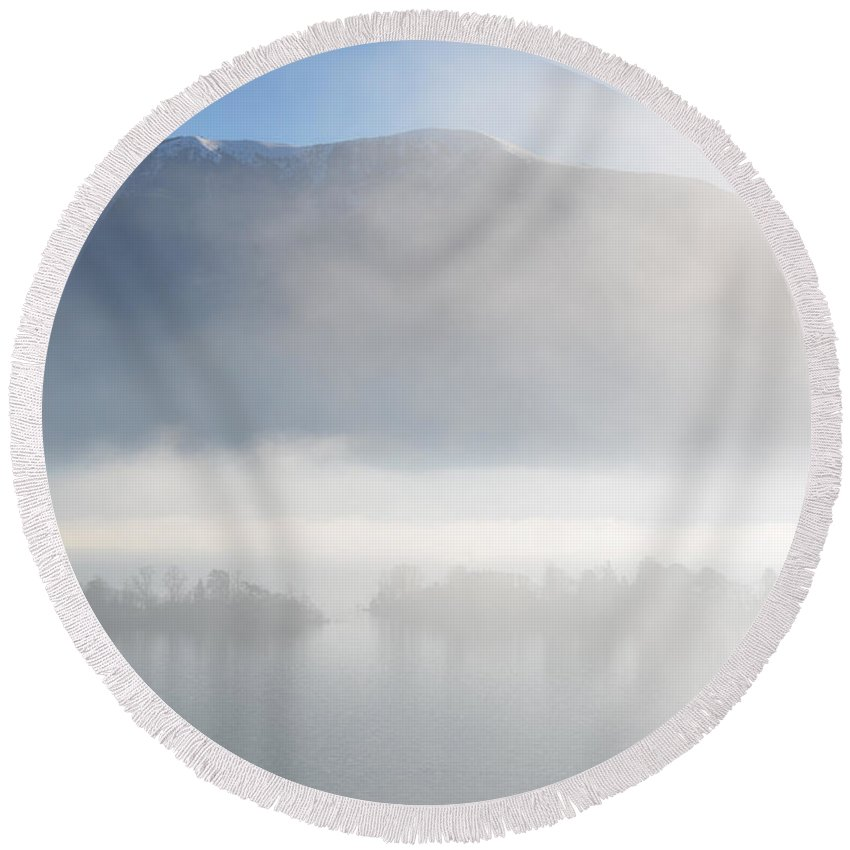 Islands Round Beach Towel featuring the photograph Islands In The Fog by Mats Silvan