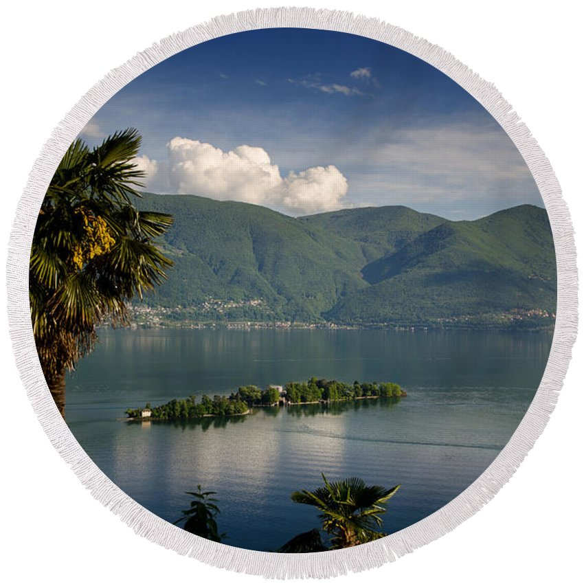 Island Round Beach Towel featuring the photograph Islands On An Alpine Lake by Mats Silvan
