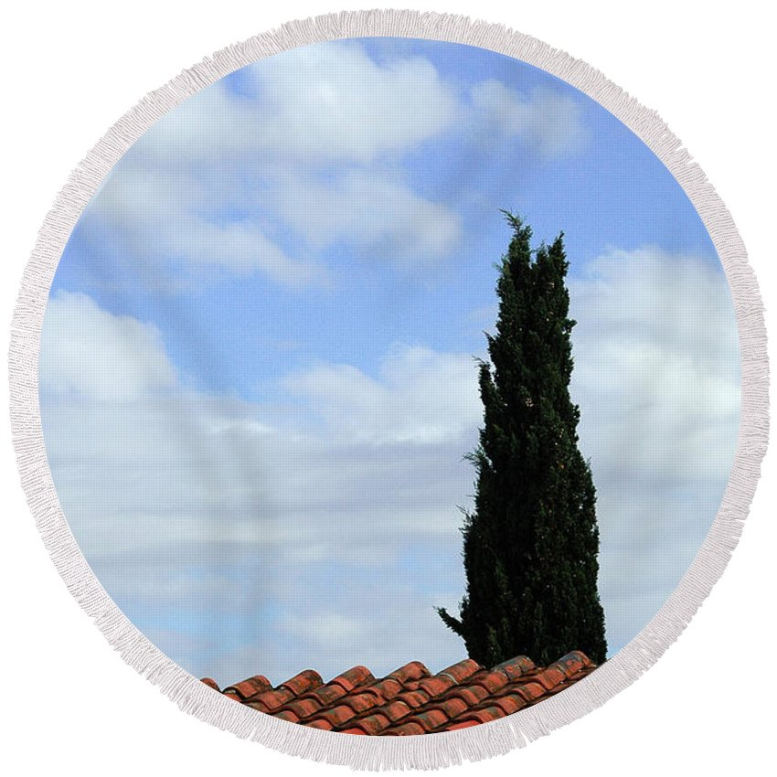 Cypress Round Beach Towel featuring the photograph Italian Cyress And Red Tile Roof Rome Italy by Mike Nellums