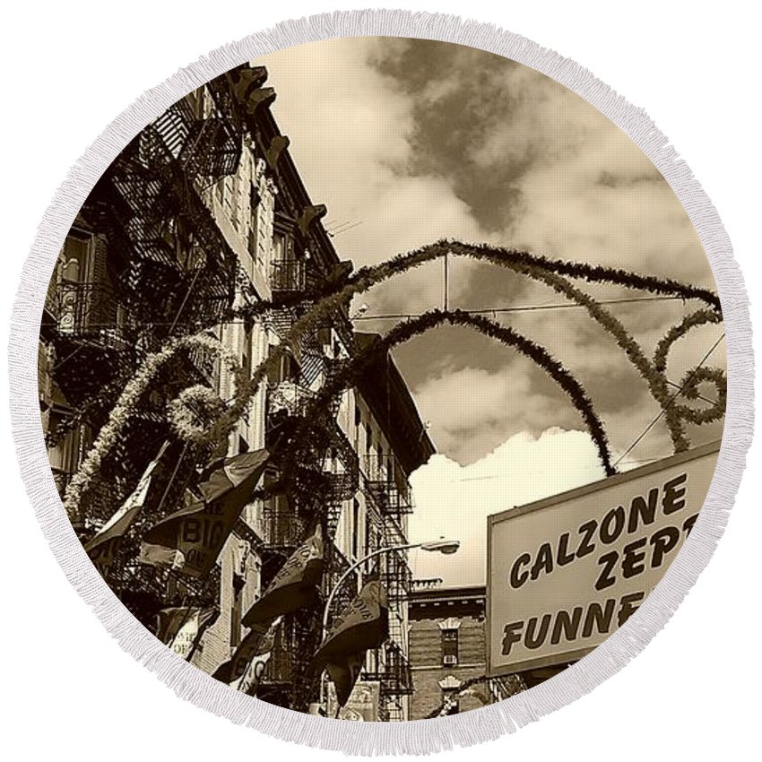 San Gennaro Round Beach Towel featuring the photograph Italian Style by Catie Canetti