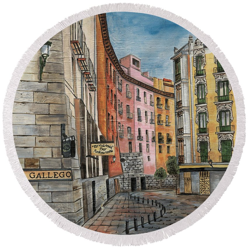 Landscape Round Beach Towel featuring the painting Italian Village 2 by Debbie DeWitt